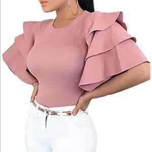 Pink Flutter Sleeve Fashion Blouse. Fun design.